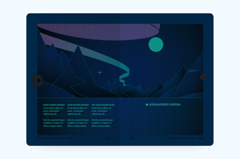 Norwegian Passport Spread UV Light